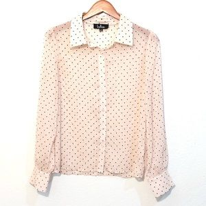 Lulus Sheer Button Up Collared L/S Blouse Size S